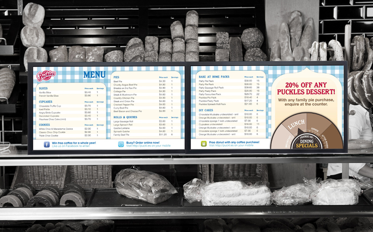 resturant mock screen menu